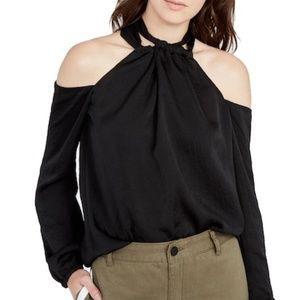 Rachel Roy Size 12 Black Cold Shoulder Top